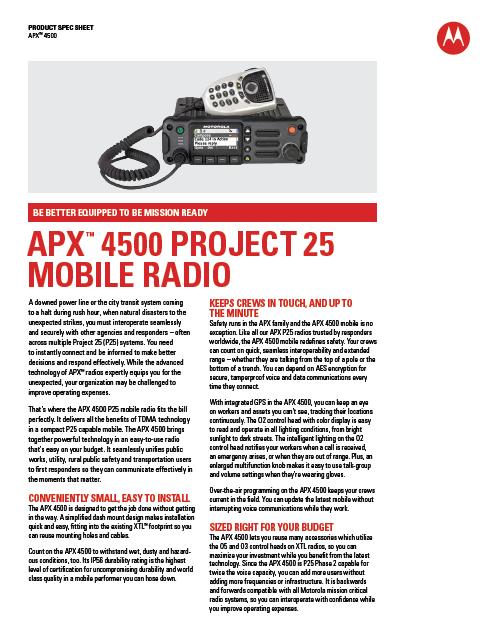 APX4500-Specs