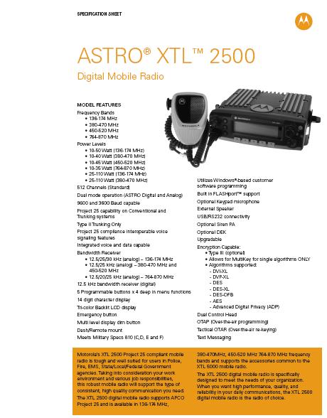 XTL2500-specs